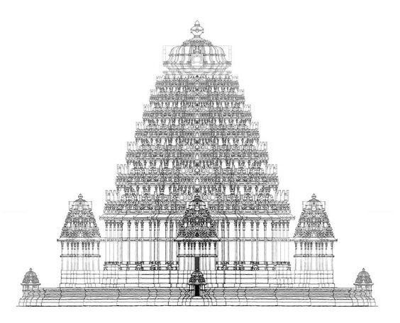 Indian temple architecture drawings hindu temple india for Religious buildings in india