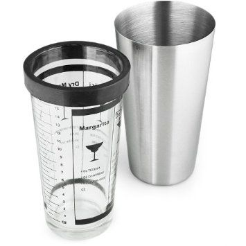Boston Cocktail Shaker with Cocktail Recipe Glass | Elegant Brushed Stainless Steel Finish - Great for Professional or Domestic Use!: Amazon.co.uk: Kitchen & Home