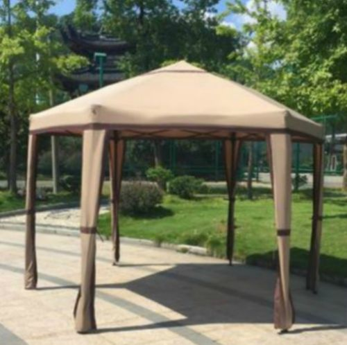 Hexagonal Gazebo Metal Canopy Hexagon Steel Portable 12x12 Pavilion Garden Patio Gazebo Patio Entertaining Backyard Tent