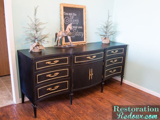 Black Vintage Dresser with Gold Leafing - Restoration Redoux