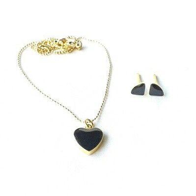 Colgante - Corazon negro - GoldFilled Zarcillos - Topitos mini negro - Baño de oro