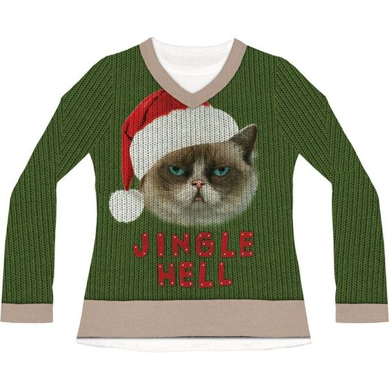 Jingle Hell Cat Ugly Christmas Sweater For Adults (470 ZAR) ❤ liked on Polyvore featuring tops, sweaters, halloween costumes, cat sweater, cat christmas shirt, ugly christmas sweater, christmas shirts i henley shirt