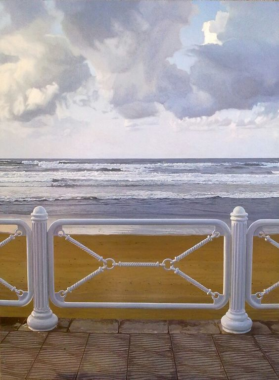 PLAYA DE SALINAS , oleo de Sergio Castro Realismo