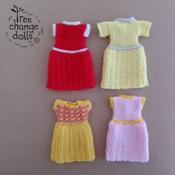 Easy Knitting Patterns For Dolls : Tree Change Dolls  Knitting Pattern #3 Simple Knitted Dress, by Sonia and Sil...