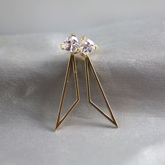 14k Solid Gold and Cubic Zirconium Earrings and Earring Jacket