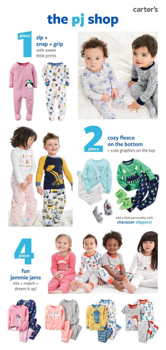Shop Carter's PJ shop now, discover everything a to zzzz! Cozy 1-piece cotton or fleece, 2-piece fleece and 4-piece pajama cotton for sweet dreams!
