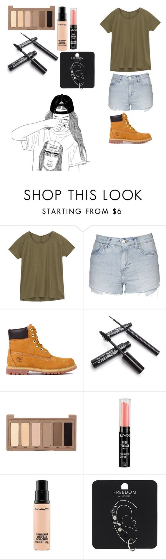 """""""Untitled #173"""" by meow1104 ❤ liked on Polyvore featuring Lee, Topshop, Timberland, Urban Decay, NYX and MAC Cosmetics"""