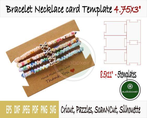 Bracelet Necklace Card Template 4 75x3 Pdf Svg Dxf Eps Etsy In 2021 Necklaces Bracelets Bracelets Card Template