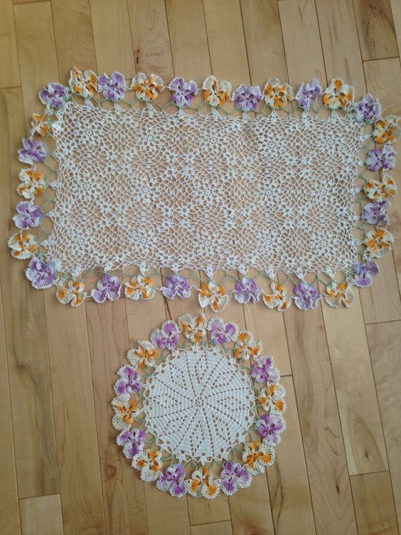 Set of 2 Vintage Hand Crochet Doilies with Pansy by SimplyAgain