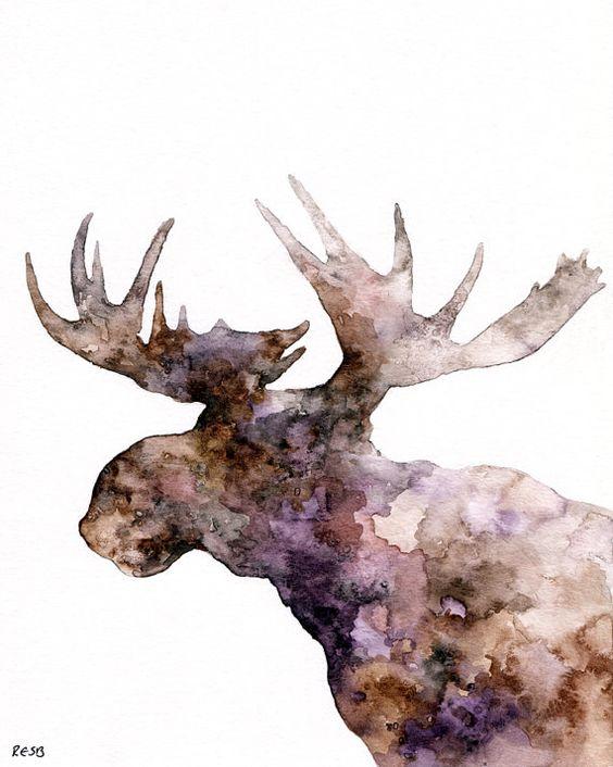 "Moose Silhouette Painting - Print from Original Watercolor Painting, ""The Purple Moose"", Moose Print"