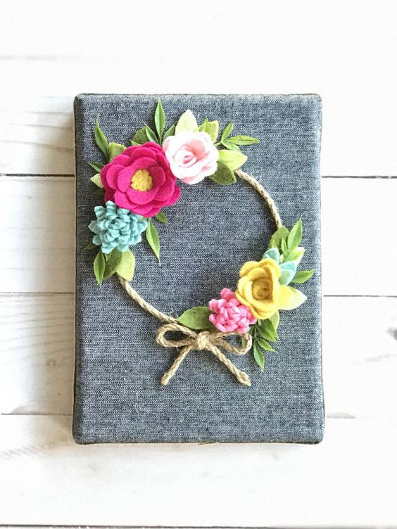 Felt Flower Wreath Fall Wreath Fall decor wall hanging