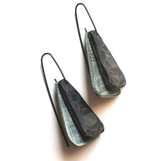 Double Wing carved drop earrings in Olive and Grey