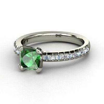 Cushion Emerald Platinum Ring with Diamond & Aquamarine | Eliza Ring | Gemvara