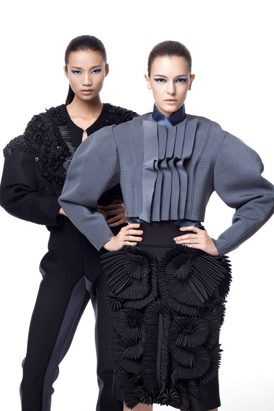 Sculpted Textures & Volume - mixed embellished and dimensional patterned fabric surfaces with 3D structure // student fashion design, IFA Paris 2012