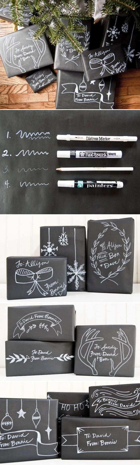Empaca tus regalos en papel negro y escribe mensajes con un lápiz blanco para que luzcan como un tablero. #ManualidadesParaFiestas