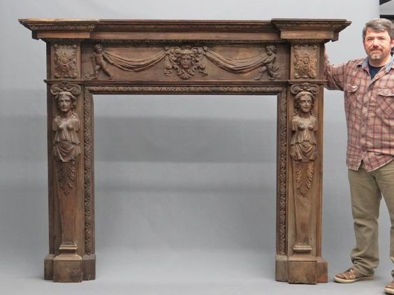 LOT #10 - 19th c. Carved Fireplace Mantle