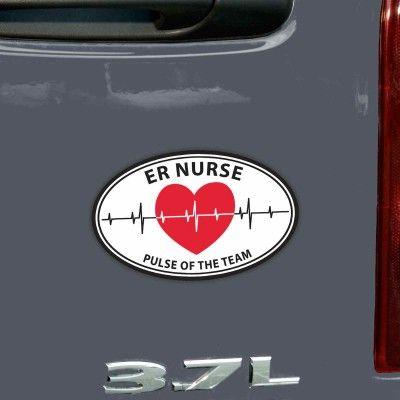 """Pulse of the Team – ER Nurse"" Oval Car Magnet"