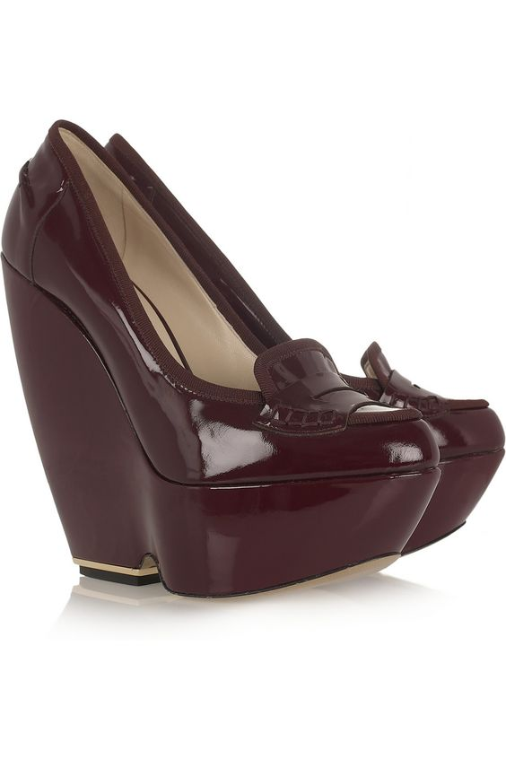 Patent-leather wedge loafers by Nicholas Kirkwood