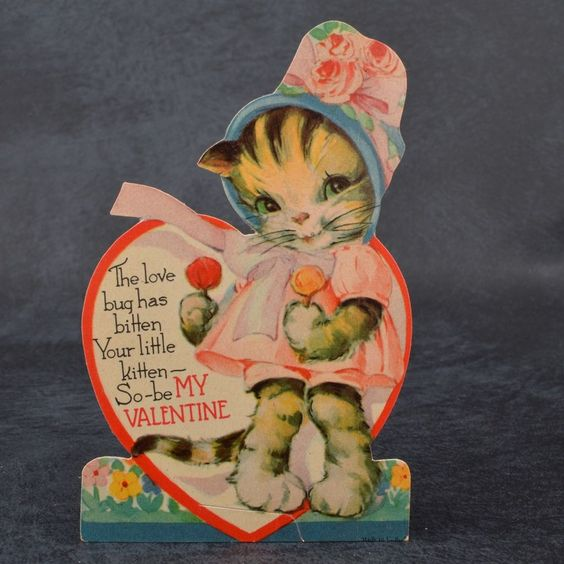 Vintage 1930s BABY KITTEN Dressed CAT Heart LOLLIPOPS Standing VALENTINE Card