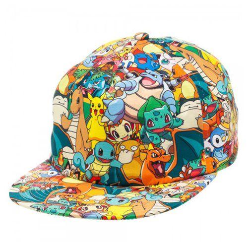 9ae2b87bd36 Pokemon All Over Sublimated Print Pikachu Adjustable Snapback Hat Cap