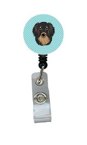 Checkerboard Blue Longhair Black and Tan Dachshund Retractable Badge Reel BB1151BR