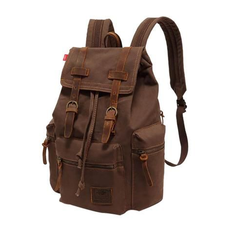 Real Leather Backpack Bag Men Laptop Travel Hiking Vintage Large Camping Satchel