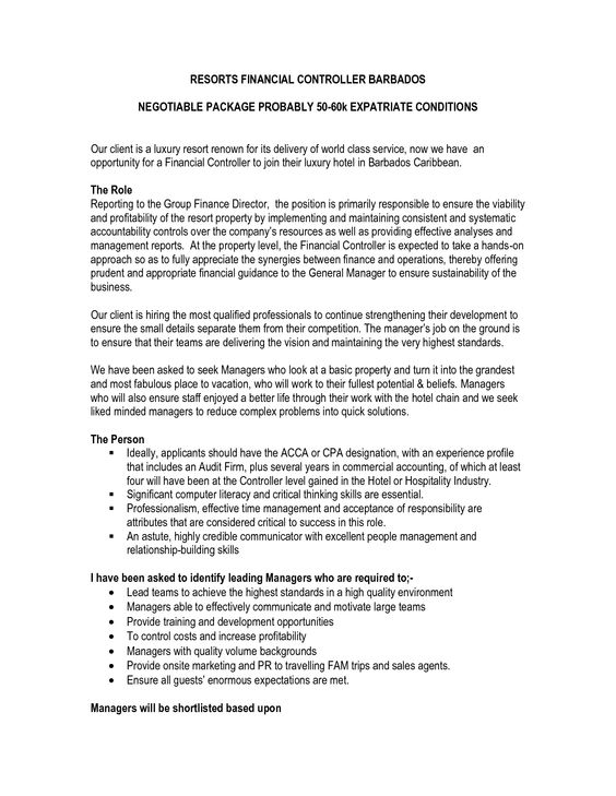 Sample Resume For Financial Controller -    wwwresumecareer - financial controller resume