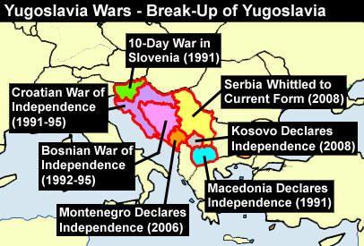 Map of Yugoslavia wars and the breakup of Yugoslavia ...