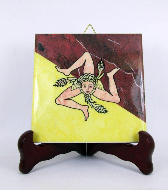 Trinacria Sicily symbol flag Ceramic Tile from Italy Sicilia handmade in Italy