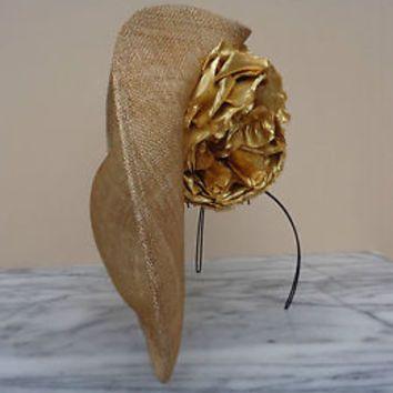 Philip Treacy London Gold Metallic Flower Fascinator Hat w/ Headband