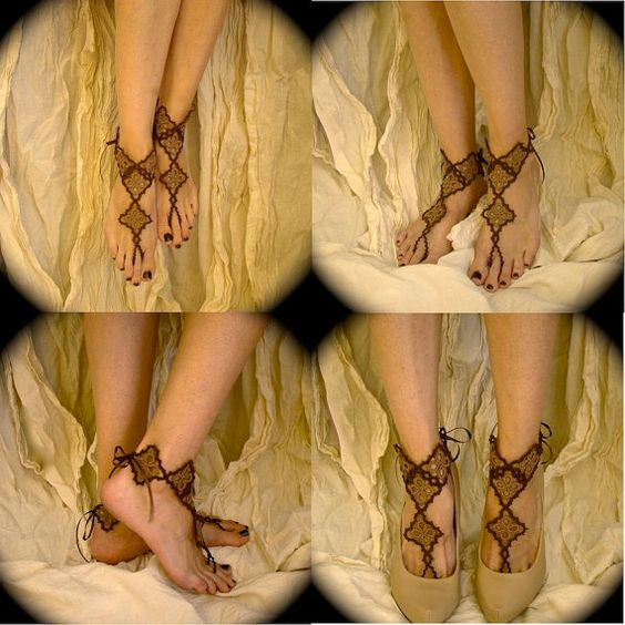 Tatted Barefoot Sandals  Lizzy's Diamonds in Sepia by TotusMel, $55.00