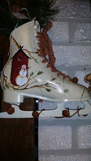 Hand painted ice skates in stock at ann marie 39 s gifts and for Anne marie witmeur decoration