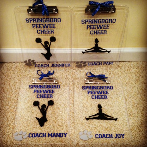 Cheer coach gifts - vinyl clipboards