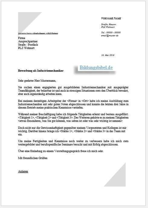 Bewerbung Industriemechaniker Bewerbungsschreiben