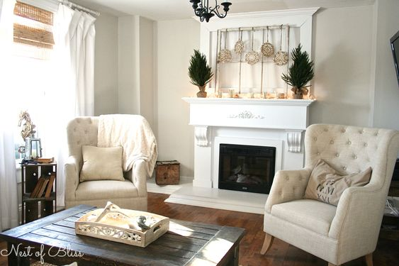 Snowflake ornaments, more simple evergreen minimal lights and mercury sparkle, crate side table and cozy textures