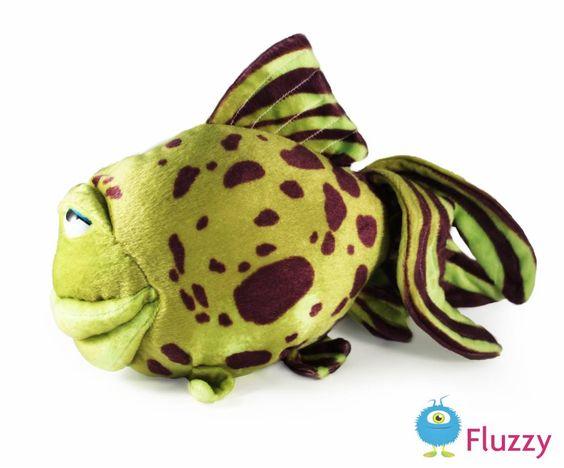 Grappige vis. Groen met bruin. 32 cm groot, € 13,95 http://www.fluzzy.nl/grappige-vis.html