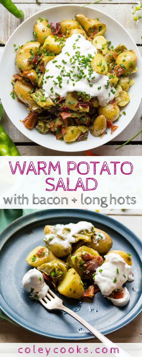Warm Potato Salad With Bacon Long Hots Recipe Warm Potato Salads Food Recipes Salad Recipes