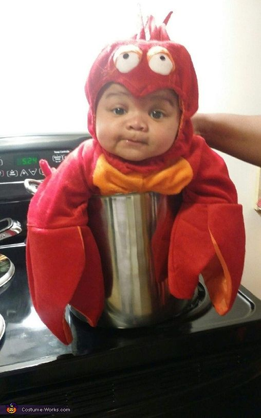 Eboni: Here's my son Joshua as a Boiling Lobster. I bought the Lobster costume and thought it would be cute to put him in a pot on the stove.