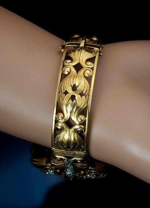 Art Nouveau Jewelry - Exceptional Gold Bracelet c. 1910 | JV
