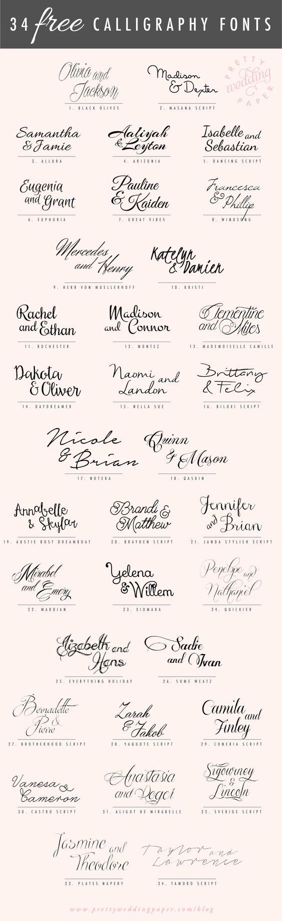 Tipos de letra grátis para convites de casamento
