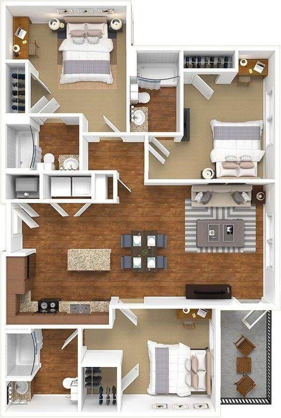 Denah Rumah Minimalis 3 Kamar Tidur 3D 30