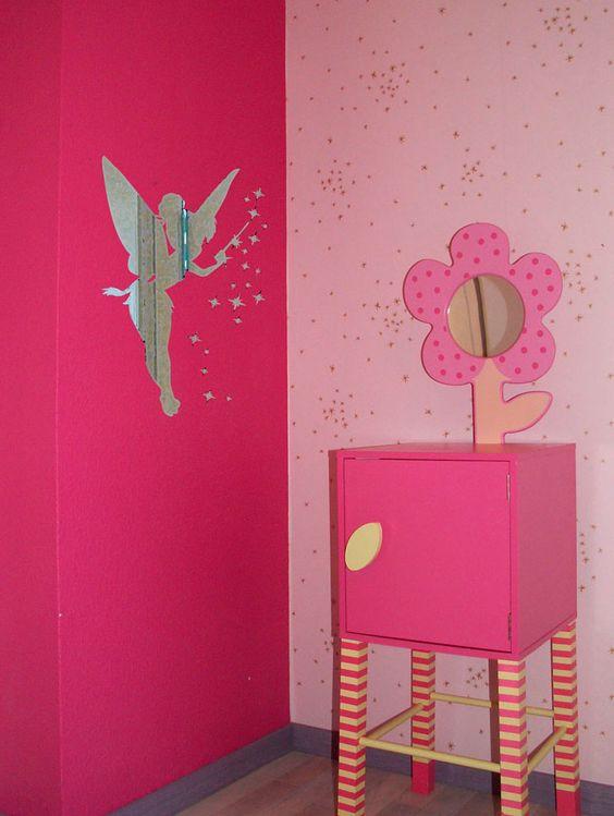 stickers effet miroir f e clochette d coration chambre d. Black Bedroom Furniture Sets. Home Design Ideas