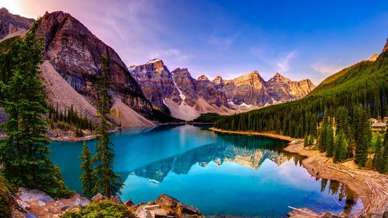 sky mountains lake forest hd wallpapers download