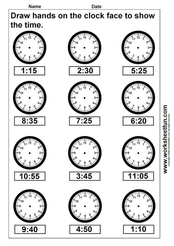 clocks with second hands for 4th grade math | Time - Draw Hands ...