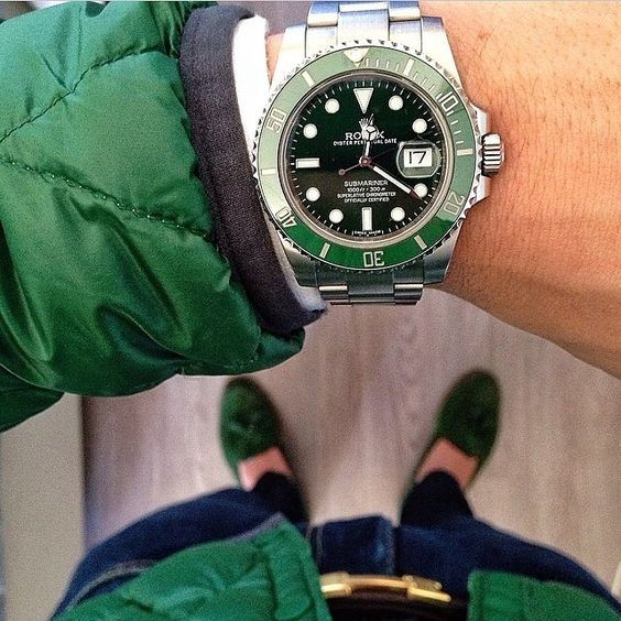 @Mirko1704 wore this outfit St. Patricks Day - Perfect color combo with his Rolex Submariner Hulk and Hermes belt Via @MrWatchGuide