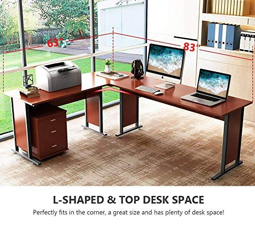 83 Tribesigns Modern L Shaped Desk With Return And Mobile File