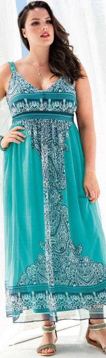 Plus size long summer maxi dress casual turquoise paisley - TOP PLUS SIZE…