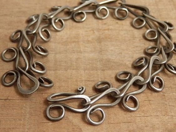 Hand Made Chain Bracelet Forged Steel Jewelry Hand Hammered Link Chain, Tribal, Bohemian. gift wrapped