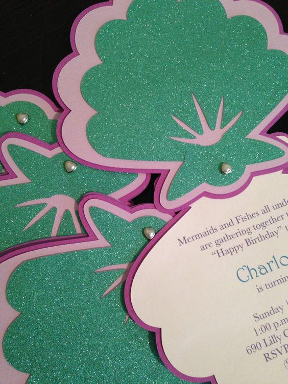 mermaid invitation  seashell invitation  under the sea