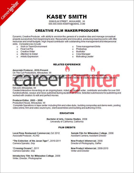 Film Producer Resume Sample | Resume | Pinterest | Resume examples ...